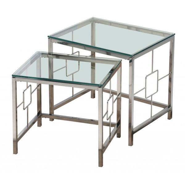Shop athena chrome and clear glass nesting tables set of 2 free athena chrome and clear glass nesting tables set of 2 watchthetrailerfo