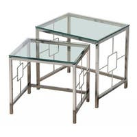 Athena Chrome and Clear Glass Nesting Tables (Set of 2)