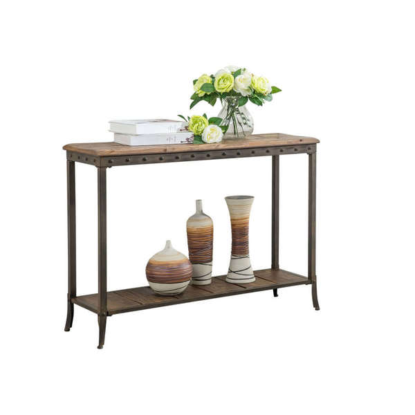 Trenton 39 Inch Distressed Pine And Metal Console Table