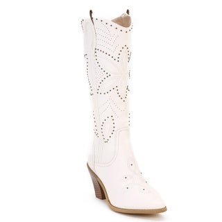 Ann Creek Women's 'Hornsby' White Studded Western Boots