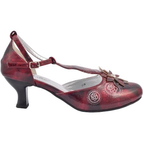 Ann Creek Womens Talea T-Strap Kitten Heels