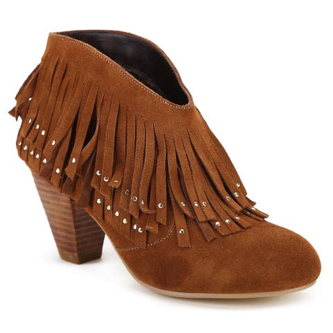 Ann Creek Women's 'Chazy' Suede Leather Fringe Bootie