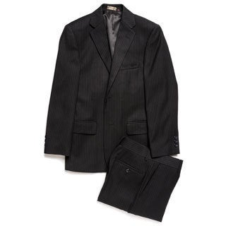 Caravelli Junior Boys' Black Tonal Stripe 2-piece Suit