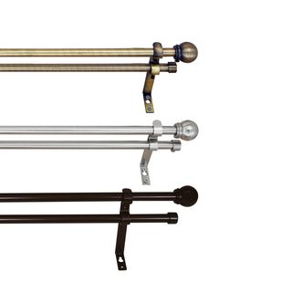 Versailles Adjustable 0.62-inch Double Curtain Rod Set (3 options available)