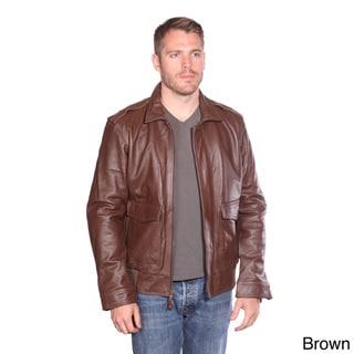 NuBorn Men's 'Roger' Leather Bomber Jacket Thinsulate Lining