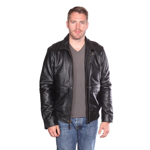 NuBorn Men's 'Roger' Leather Bomber Jacket Thinsulate Lining