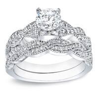 Auriya Vintage Braided Twist 1ct TDW Round Diamond Engagement Ring Set 14K Gold