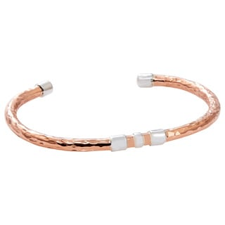 Hand-crafted Hammered Copper with Three Sterling Silver Bands Cuff Bracelet (Mexico)