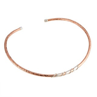Hand-crafted Sterling Silver Wire Wrapped Hammered Copper Choker Necklace (Mexico)