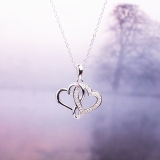 Link to Miadora Sterling Silver 1/ 6ct TDW Diamond Double Heart Necklace Similar Items in Necklaces
