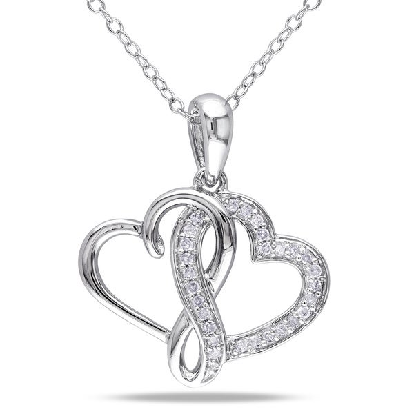 Miadora Sterling Silver 1/ 6ct TDW Diamond Double Heart Necklace