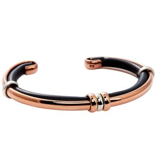 Handcrafted Copper, Leather and Sterling Silver Unisex Cuff Bracelet (Mexico)