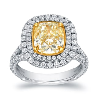 Auriya 18k Two-tone Gold 4 1/5ct TDW Certified Cushion-cut Double Halo Fancy Yellow Diamond Engagement Ring (VS1-VS2)