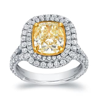 Auriya 18k Two-tone Gold 4 1/5ct TDW Certified Cushion-cut Double Halo Fancy Yellow Diamond Engagement Ring (VS1-VS2)|https://ak1.ostkcdn.com/images/products/9555230/P16736140.jpg?impolicy=medium