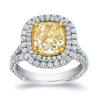 Auriya 18k Two-tone Gold 4 1/5ct TDW Certified Cushion-cut  Fancy Yellow Diamond Halo Engagement Ring