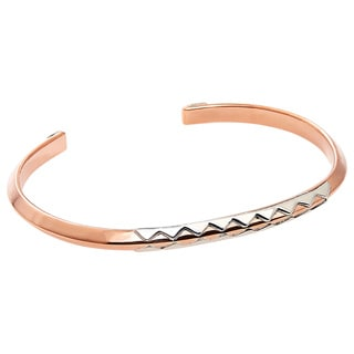 Hand-crafted Copper and Sterling Silver Crocodile Unisex Cuff Bracelet (Mexico)