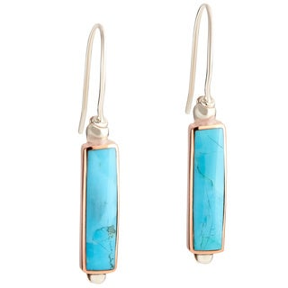Handmade Sterling Silver Copper Semi-Precious Stone Dangle Earrings (Mexico)