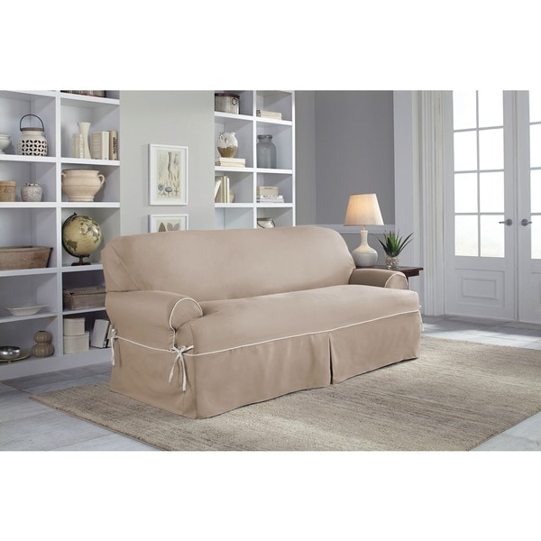 Shop Tailor Fit Twill Relaxed Fit T-Cushion Sofa Slipcover ...
