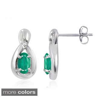 Silver Emerald Gemstone and White Diamond Accent Stud Earrings