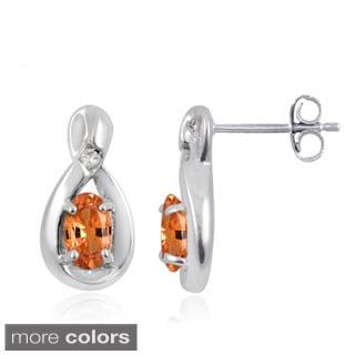 Silvertone Mandarin Garnet Gemstone and White Diamond Accent Earrings