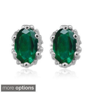 Silver Chrome Diopside Gemstone Earrings