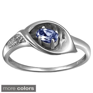 Silver Tanzanite Gemstone and White Diamond Accent Five Stone Ring