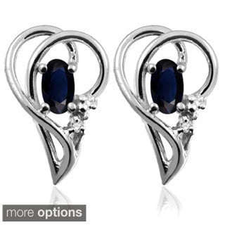 Silver Sapphire Gemstone and White Diamond Accent Earrings