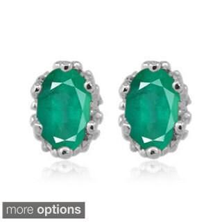 Silver Emerald Gemstone Earrings