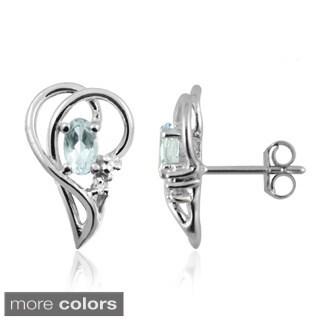 Silvertone Aquamarine Gemstone and White Diamond Accent Earrings