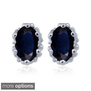 Silver Sapphire Gemstone Earrings
