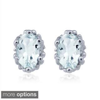 Silvertone Aquamarine Gemstone Earrings