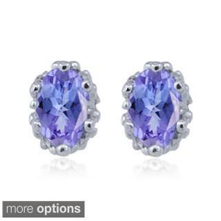 Silvertone Tanzanite Gemstone Earrings