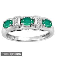 Silver Emerald Gemstone and White Diamond Accent Flower Ring