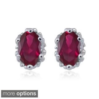 Silver Ruby Gemstone Earrings