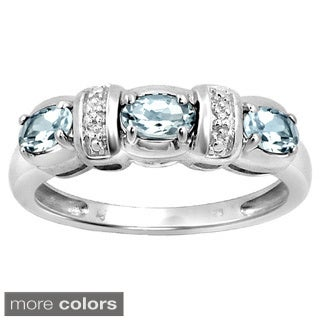 Silver Aquamarine Gemstone and White Diamond Accent Flower Ring