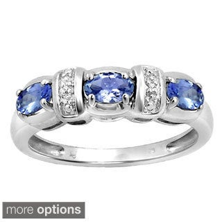 Silver Tanzanite Gemstone and White Diamond Accent Three Stone Ring