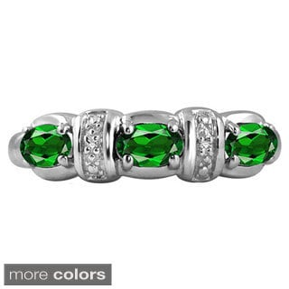 Silver Chrome Diopside Gemstone and White Diamond Accent Three Stone Ring