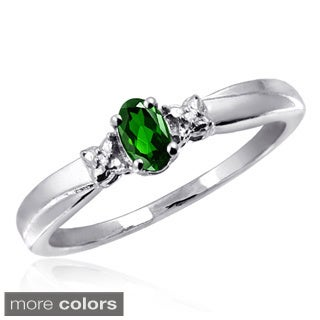 Silver Diopside and White Diamond Accent Ring