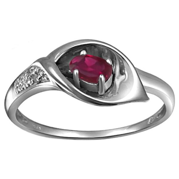 Silver Ruby Gemstone and Accent White Diamond Ring