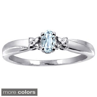Silver Aquamarine Gemstone and White Diamond Accent Ring