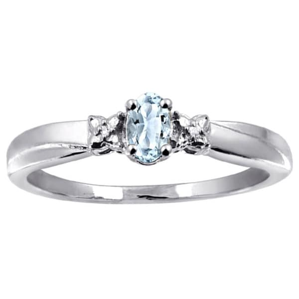 Silver Aquamarine Gemstone and White Diamond Accent Ring