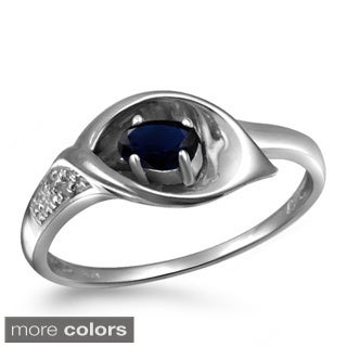 Silver Sapphire Gemstone and White Diamond Accent Five Stone Ring