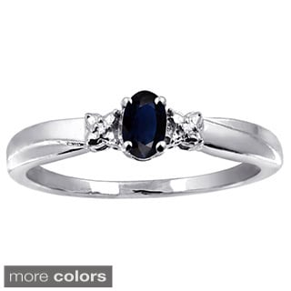 Silver Sapphire Gemstone and White Diamond Accent Ring