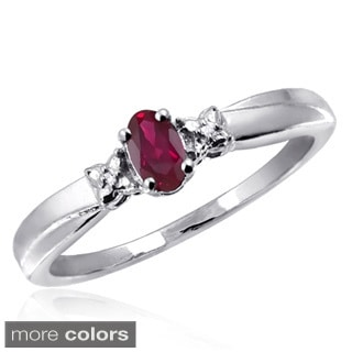 Silver Ruby Gemstone and White Diamond Accent Ring