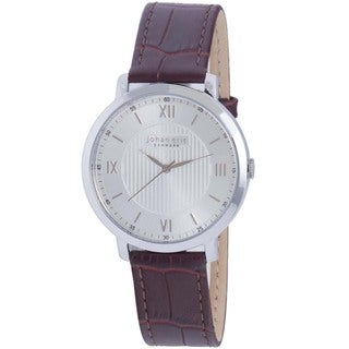 Johan Eric Men's Koge Round Stainless Steel Brown Genuine Leather Watch