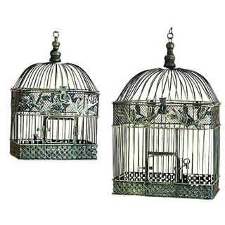 Patina Metal Square Bird Cages (Set of 2)