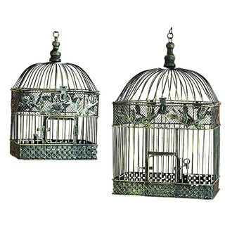 Patina Metal Square Bird Cages (Set of 2)