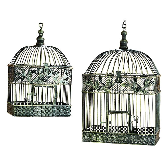 Studio 350 Patina Metal Square Bird Cages (Set of 2) (Met...
