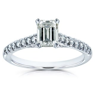 Annello by Kobelli 14k White Gold 1 1/5ct TGW Emerald-cut Moissanite (HI) and Diamond Engagement Ring