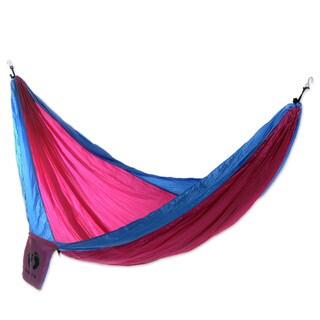 Handmade Hang Ten Parachute 'Party for HANG TEN' Hammock (Double) (Indonesia)
